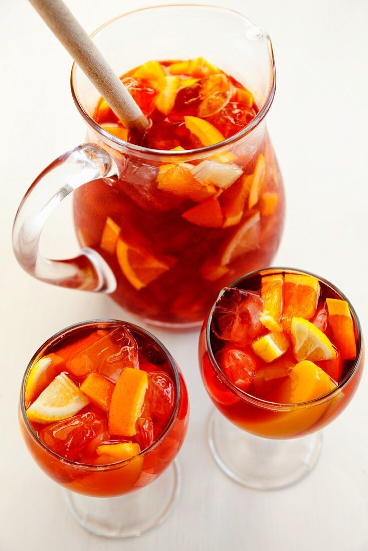 Fruit punch in glasses and a jug