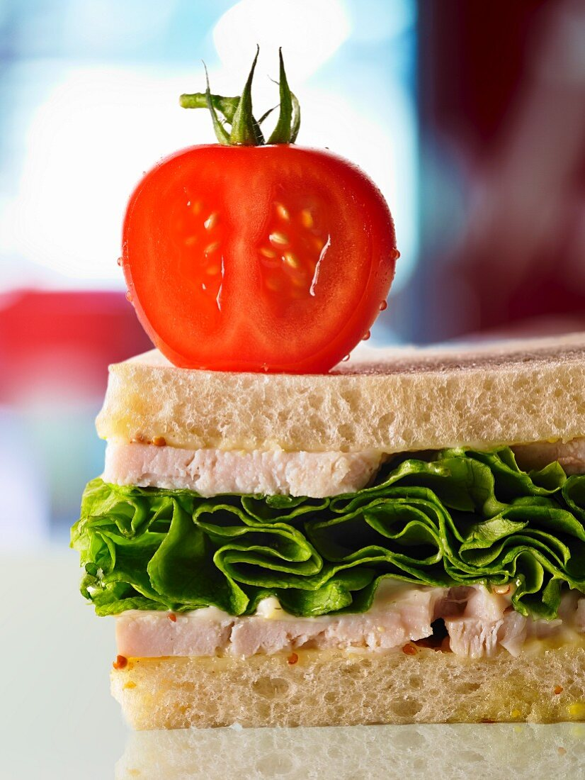 A chicken, lettuce and tomato sandwich