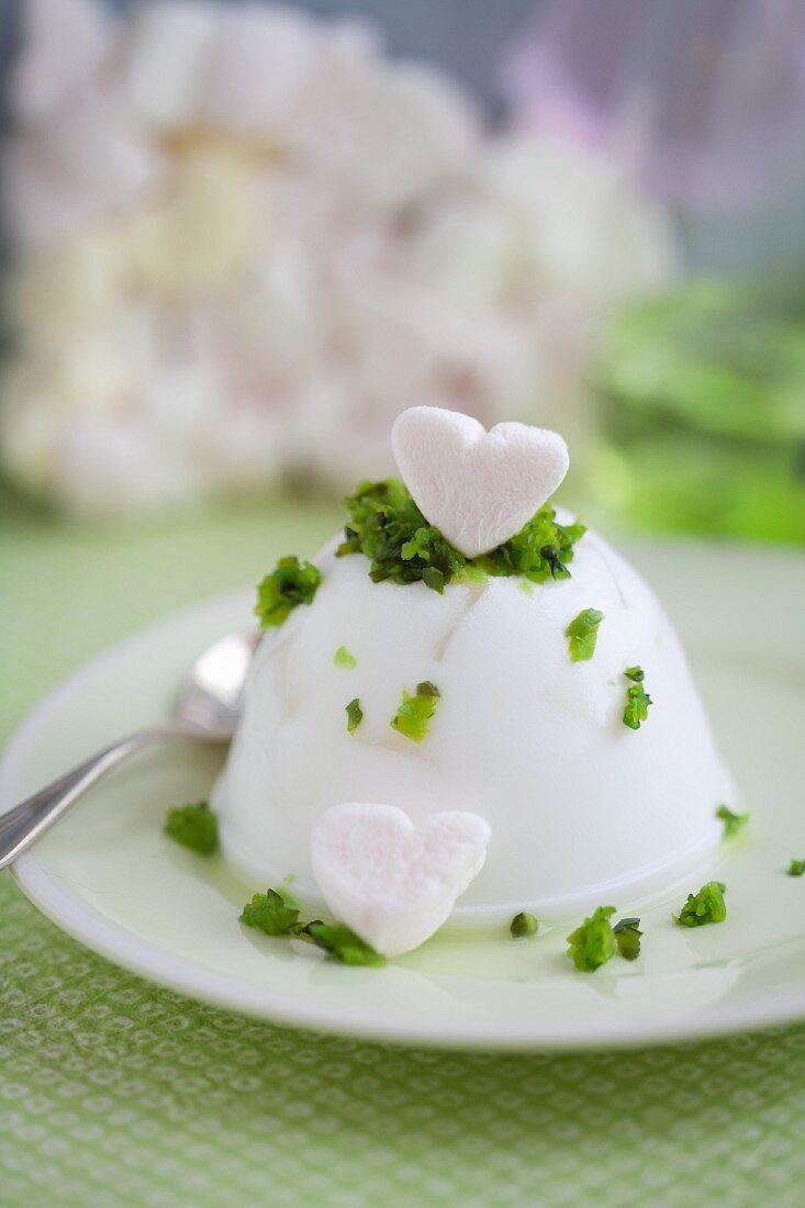 Spicy tofu pudding with tofu hearts