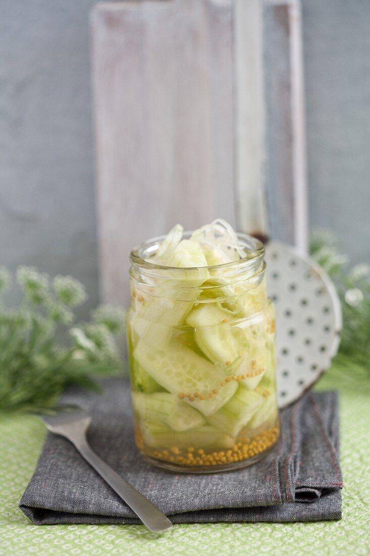 Homemade mustard pickles