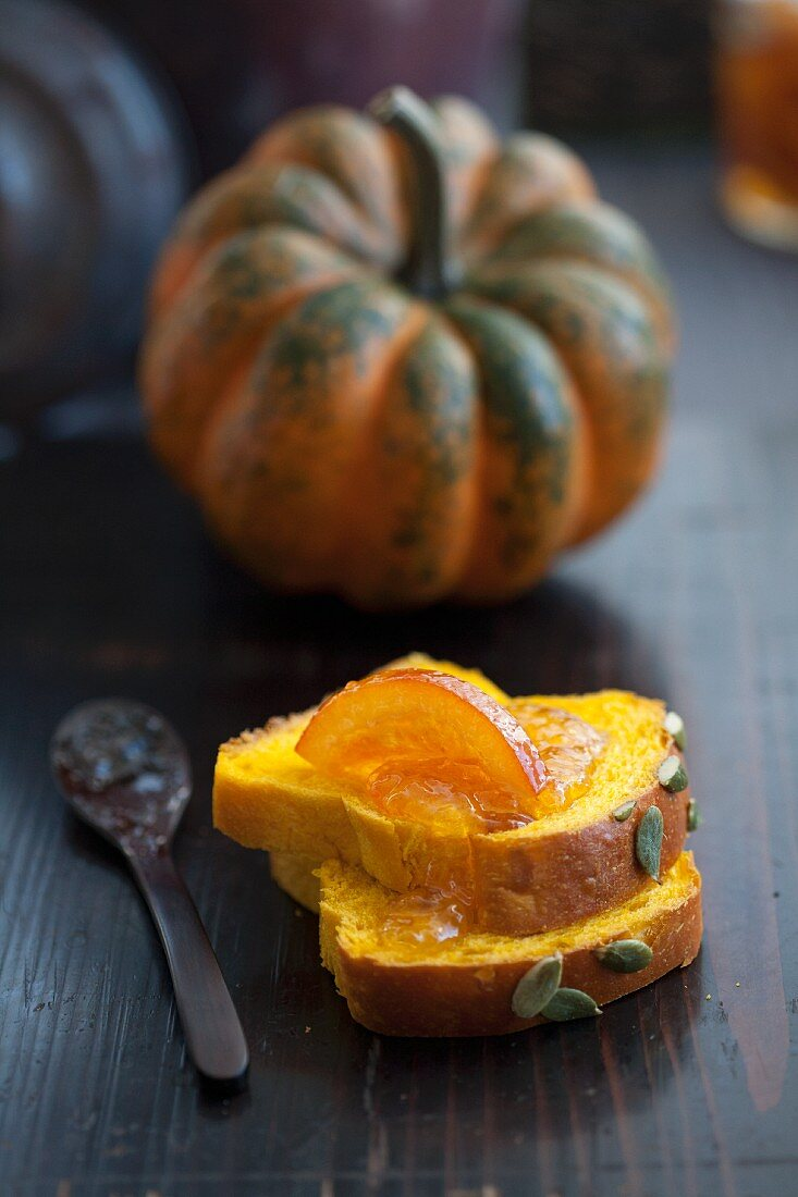 Slices of pumpkin bread with orange and pumpkin marmalade