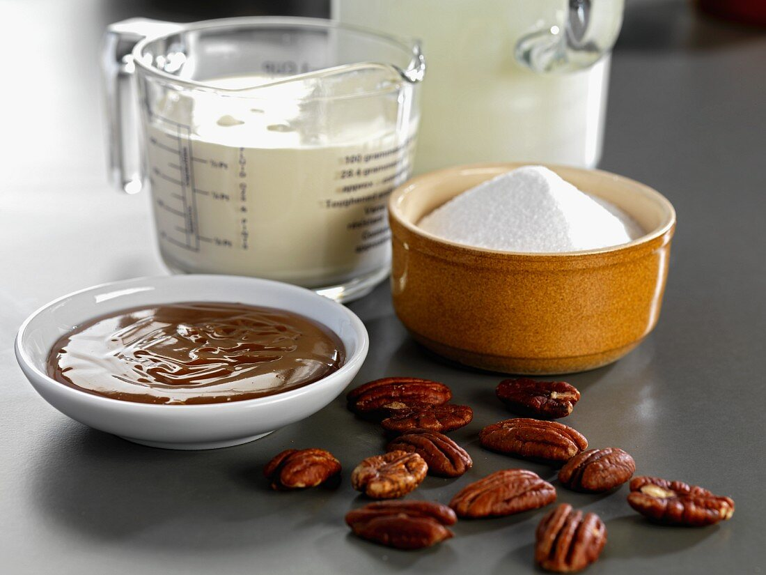 Ingredients for making nougat ice cream with roasted pecan nuts