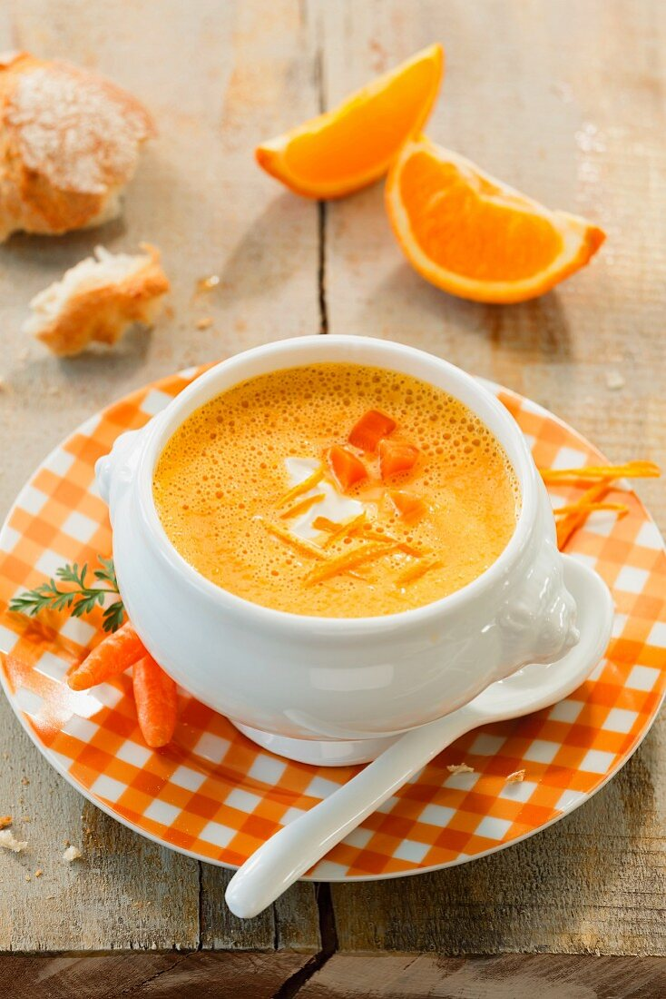 Carrot and orange soup with crème fraîche