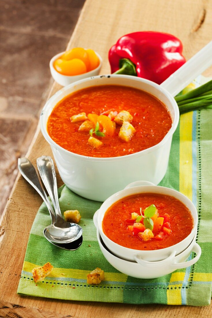 Pepper and apricot soup with croutons