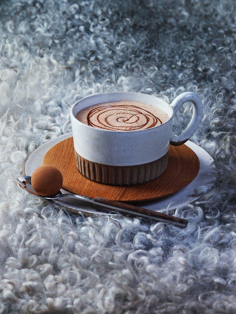 Kakao mit Milchcremepralinen