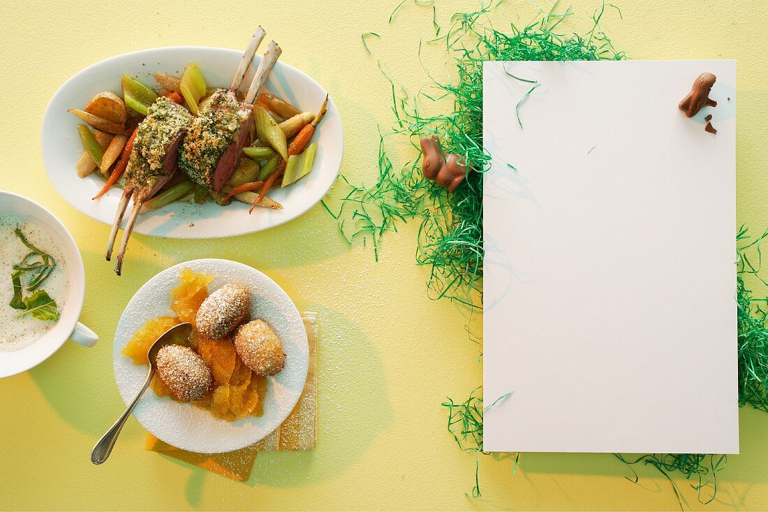 An Easter menu with a loin rack joint of lamb, foamy kohlrabi soup and baked chocolate eggs with passionfruit granita