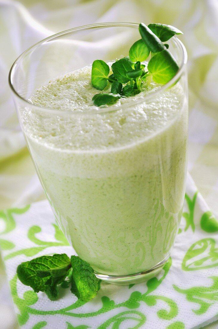A green drink with yogurt