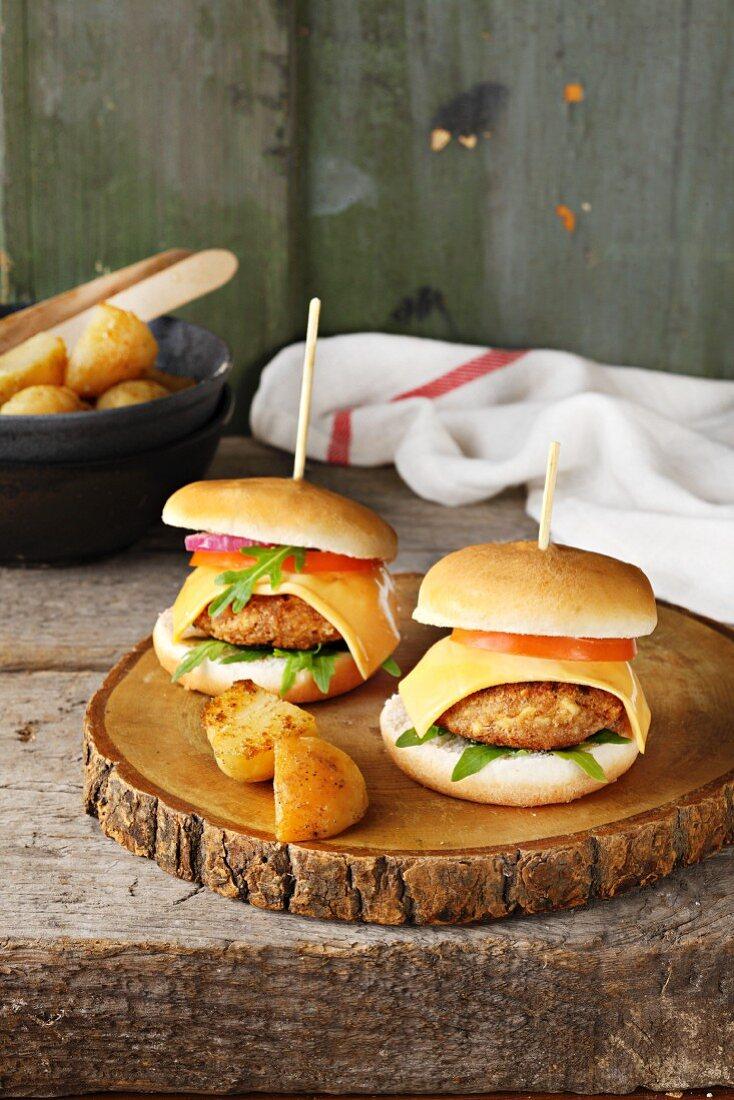 Two home-made cheeseburgers