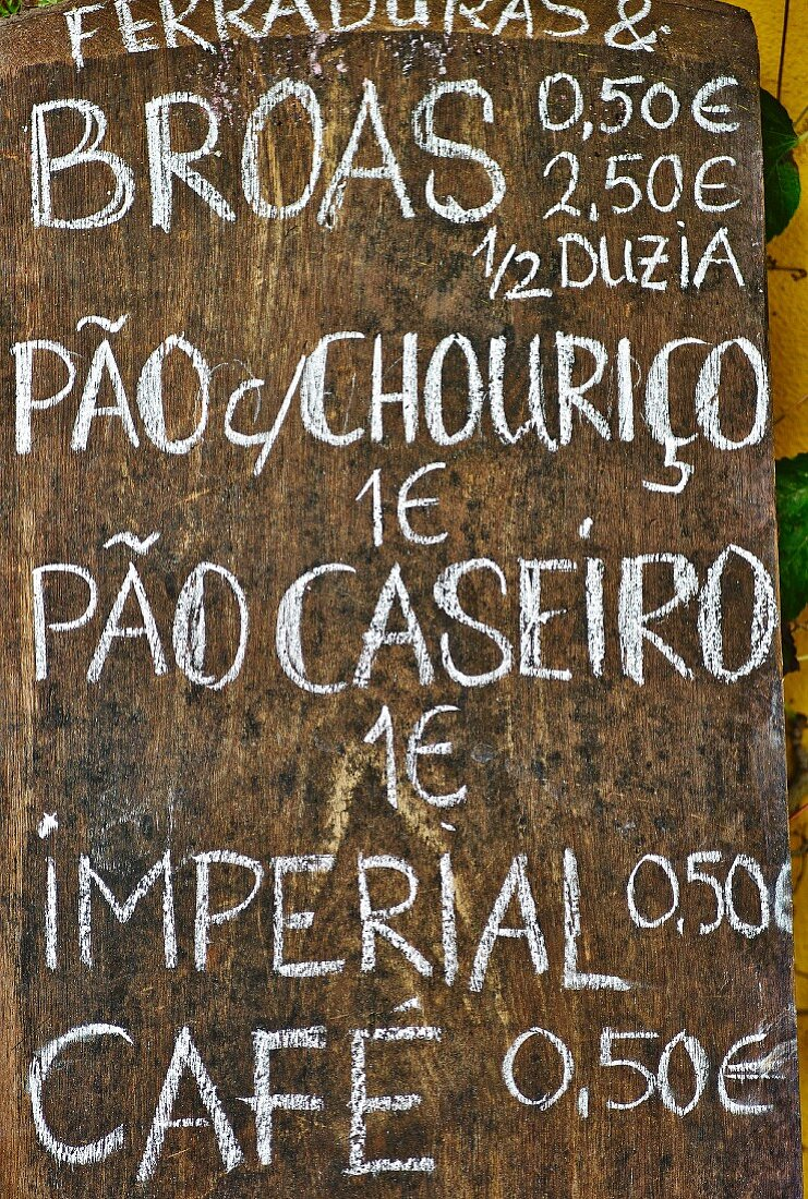 A specials board in a restaurant (Portugal)