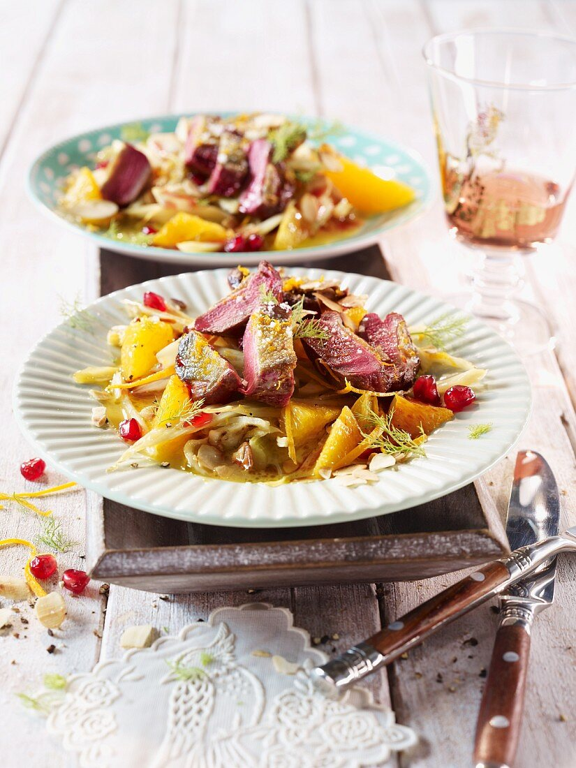 Pigeon breast with orange and fennel