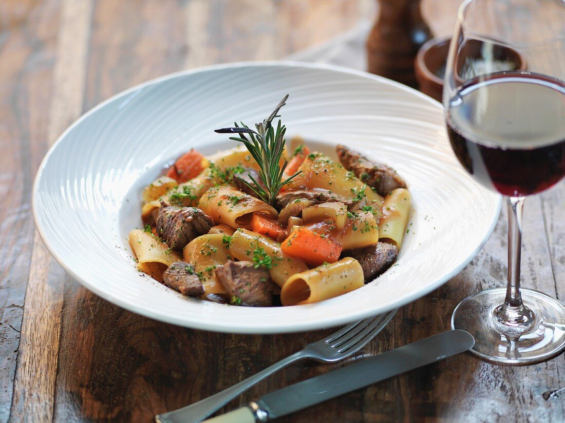 Paccheri with braised ox meat