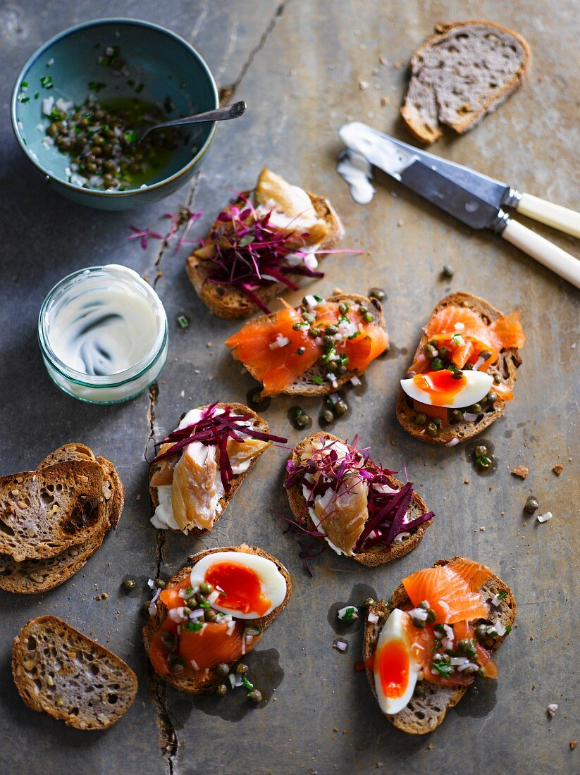 Canapes with smoked fish