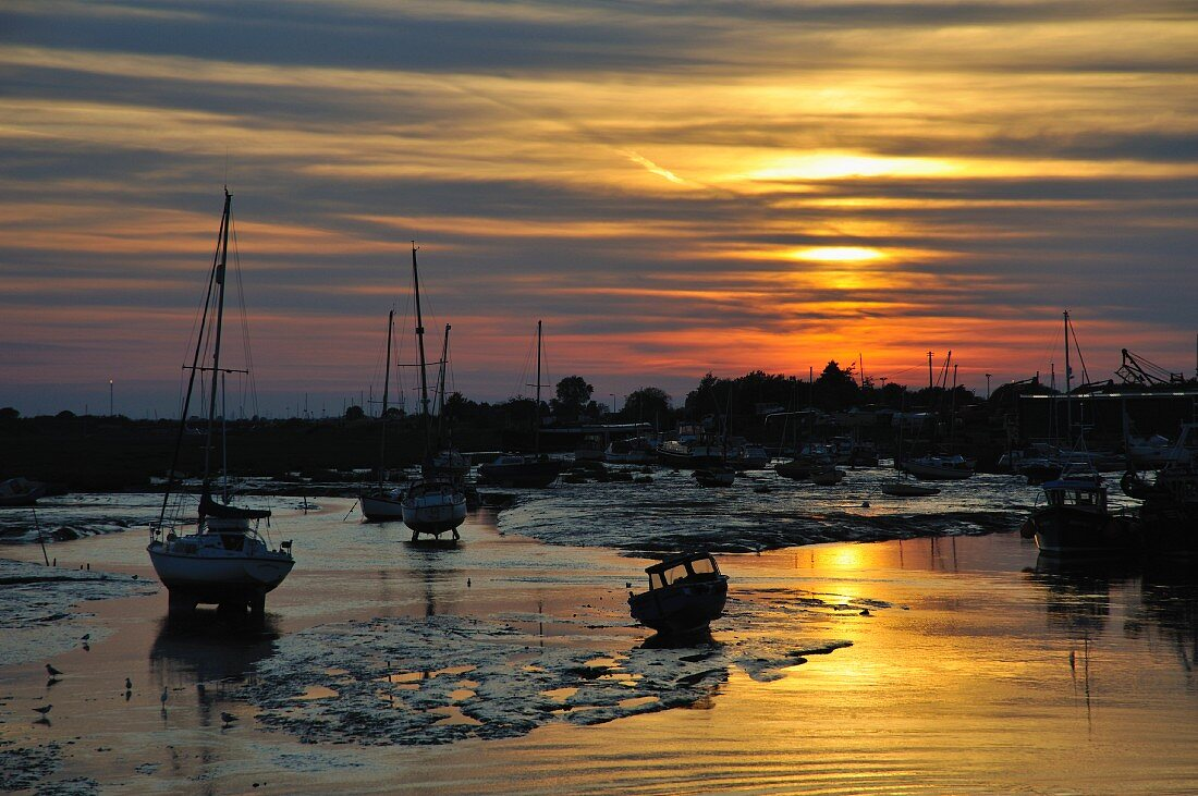 Fishing boats in a harbour at sunset