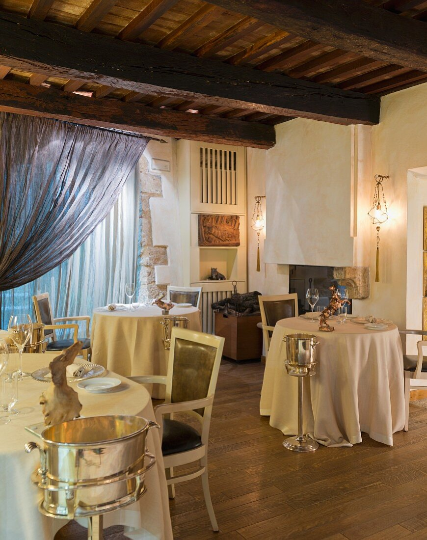 Tables laid in Restaurant Da Caino (Head Chef Valeria Piccini), Tuscany, Maremma