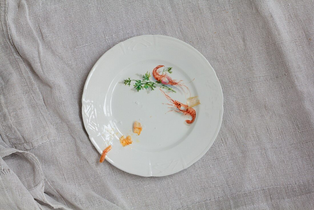 Prawns, shells and salt on a white porcelain plate