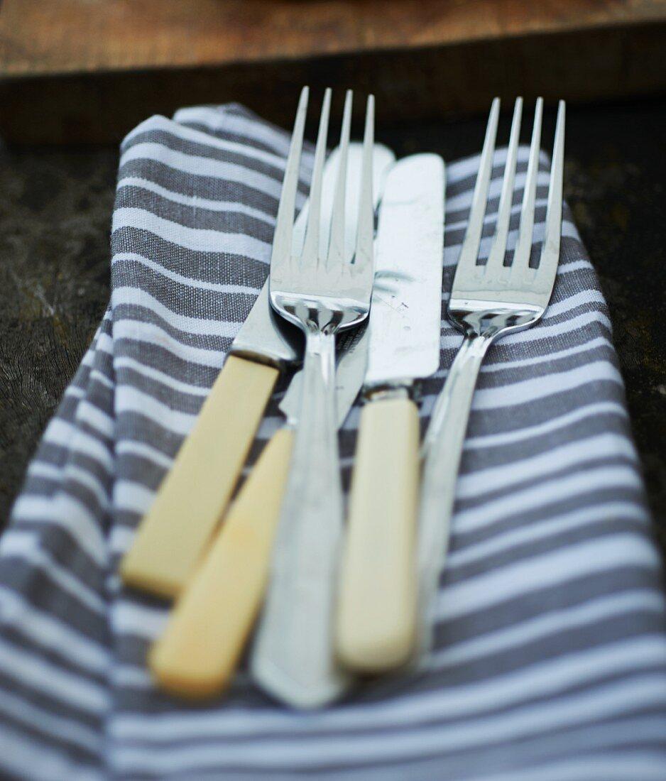 Picnic cutlery on a striped fabric napkin