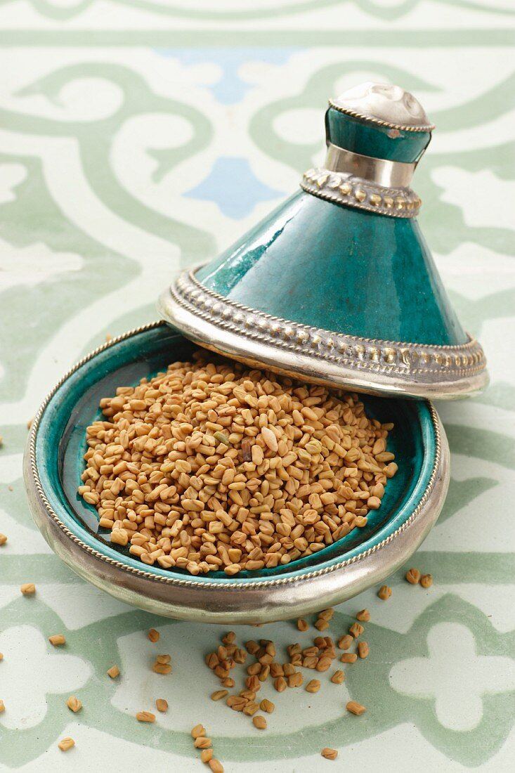 Fenugreek seeds in a tagine