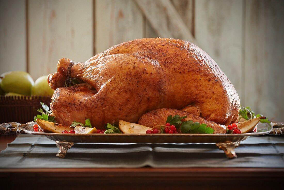 Roast turkey on a serving platter