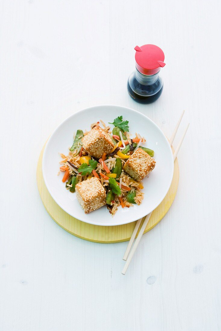 Fried rice with sesame tofu