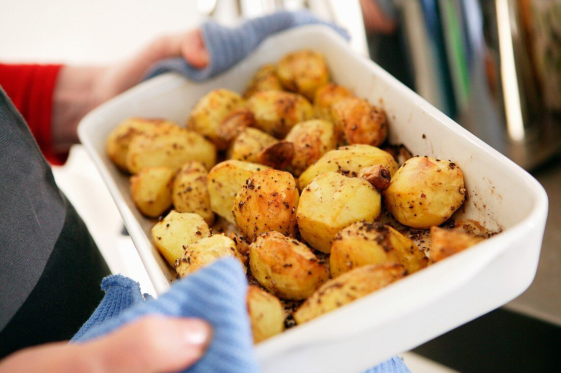 Roast potatoes fresh from the oven