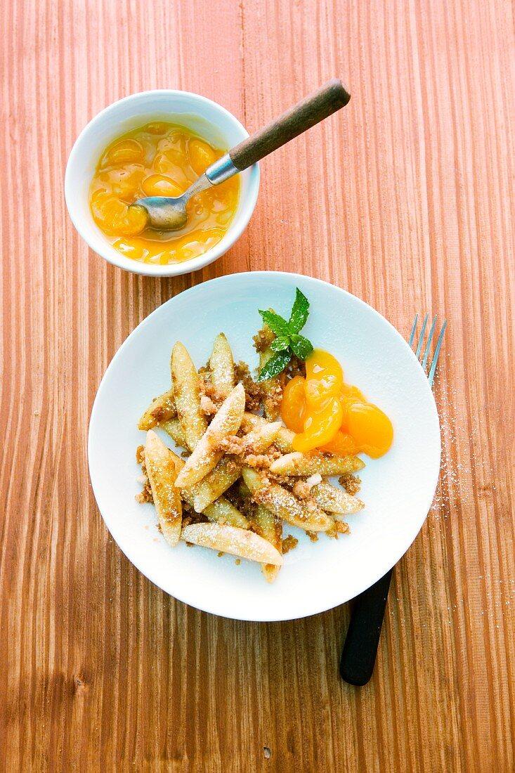 Sweet potato orzo pasta with mandarins