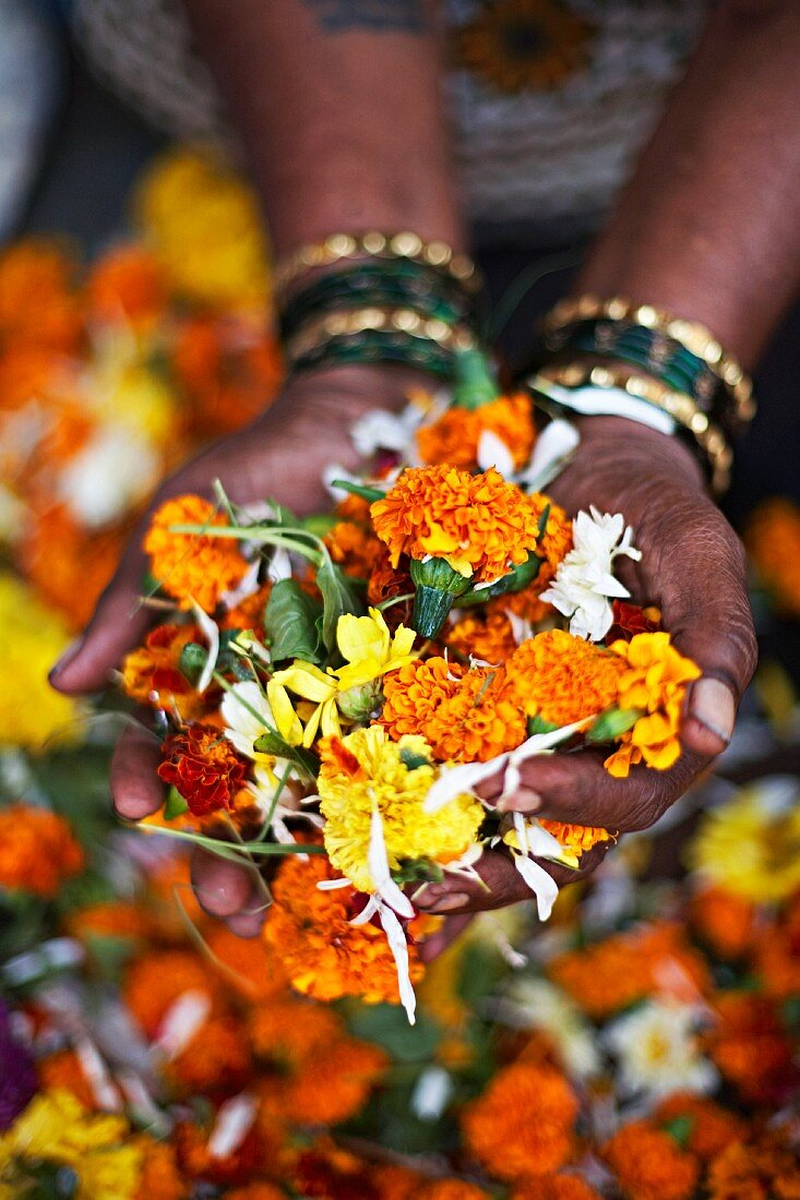 A handful of flowers at a flower market in Mumbai, India