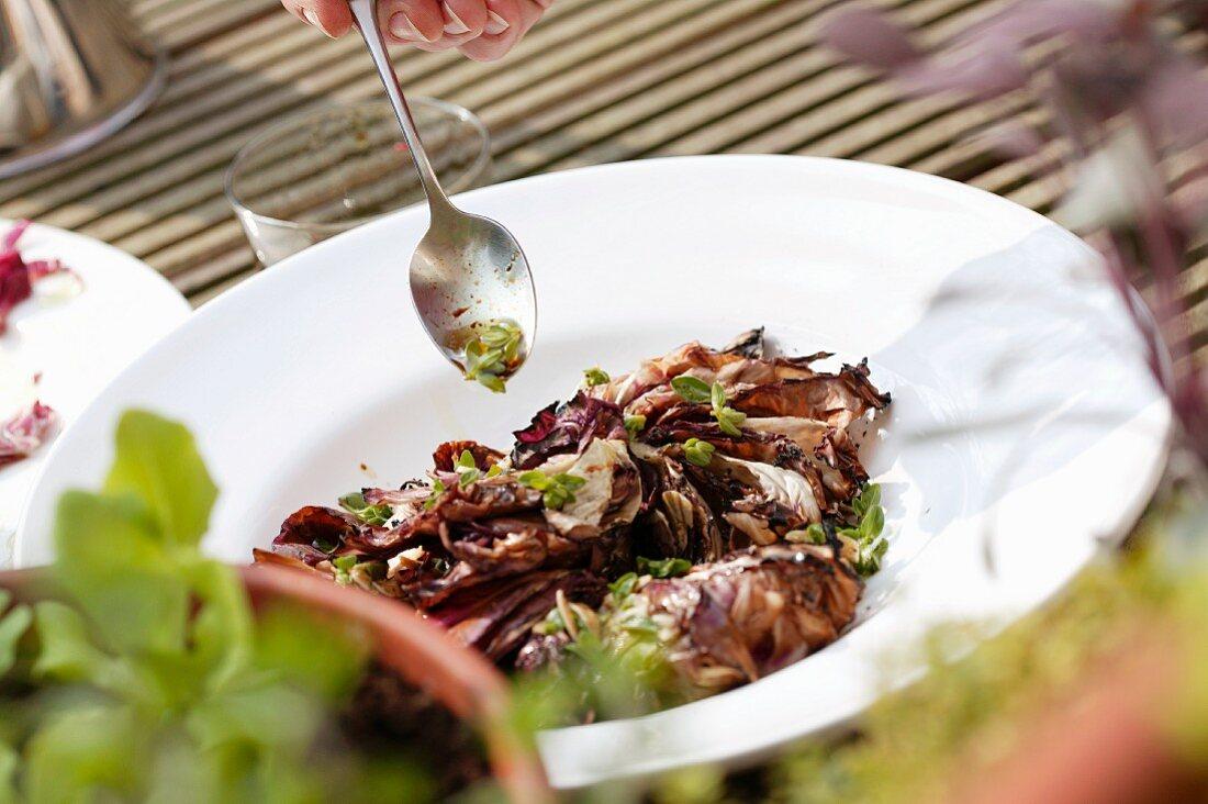 Warm radicchio salad with herb vinaigrette