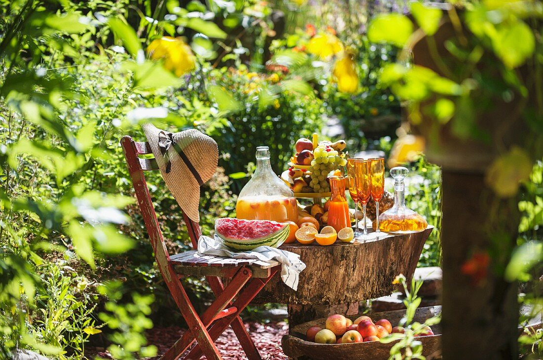 Fruits and juices in a sunny garden