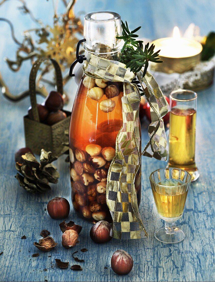 Homemade hazelnut schnapps in a flip-top bottle