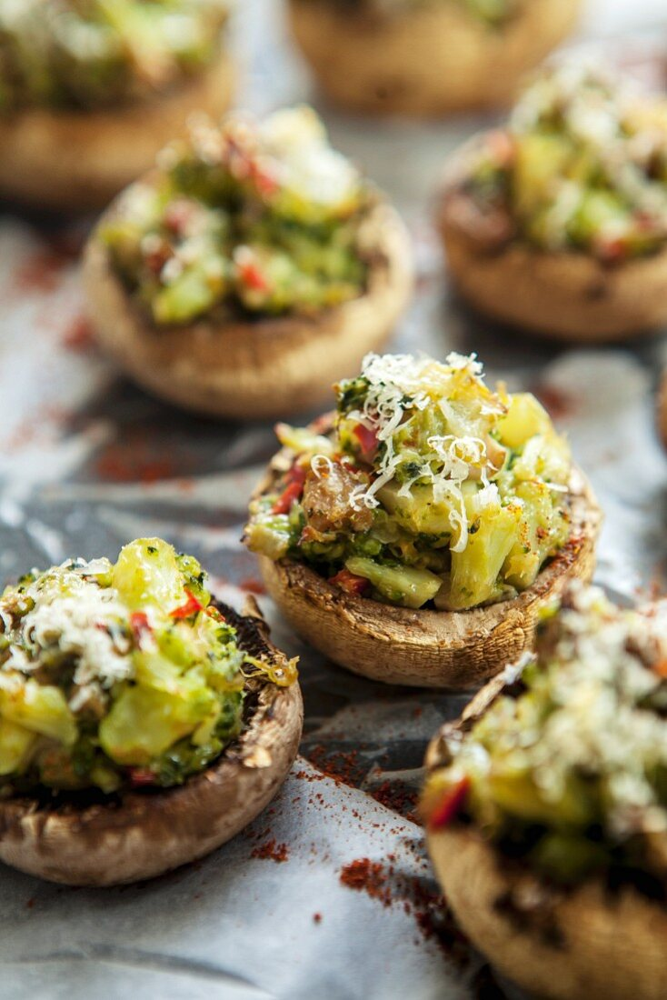 Stuffed mushrooms with broccoli and cheese