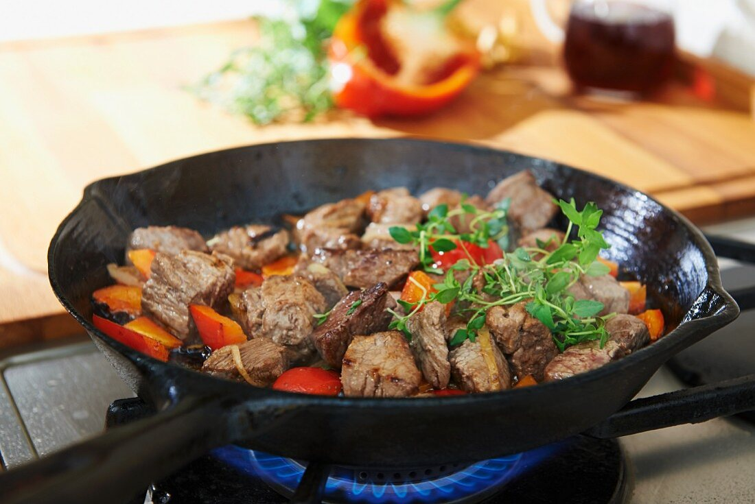 Beef goulash in a pan on the hob