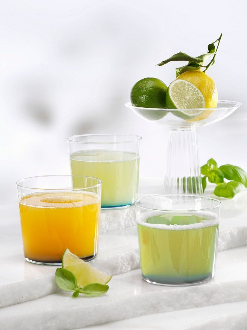 Various lemonades (apricot & basil, basil, and basil & ginger)