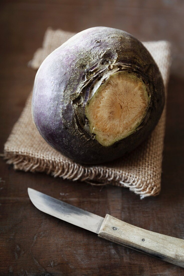 A turnip on a piece of jute
