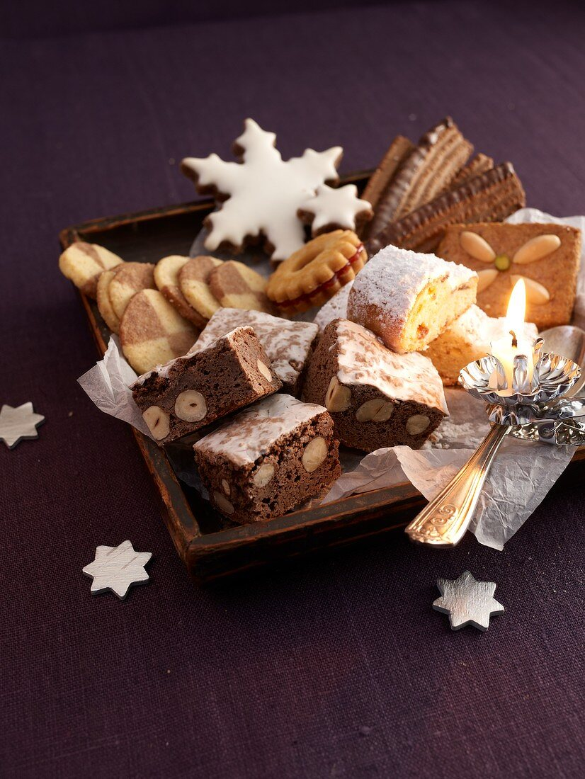 A plate of Christmas biscuits