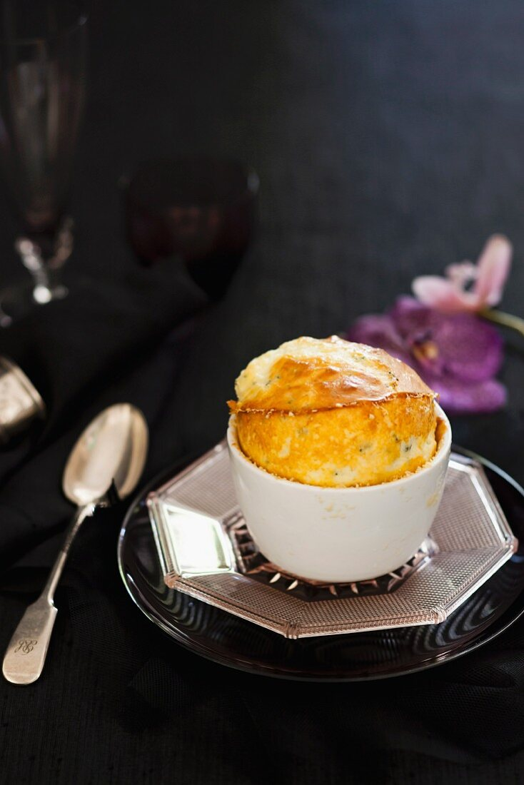 Three cheese souffle in a cup