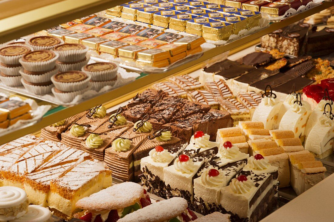 A display of cakes in a bakers