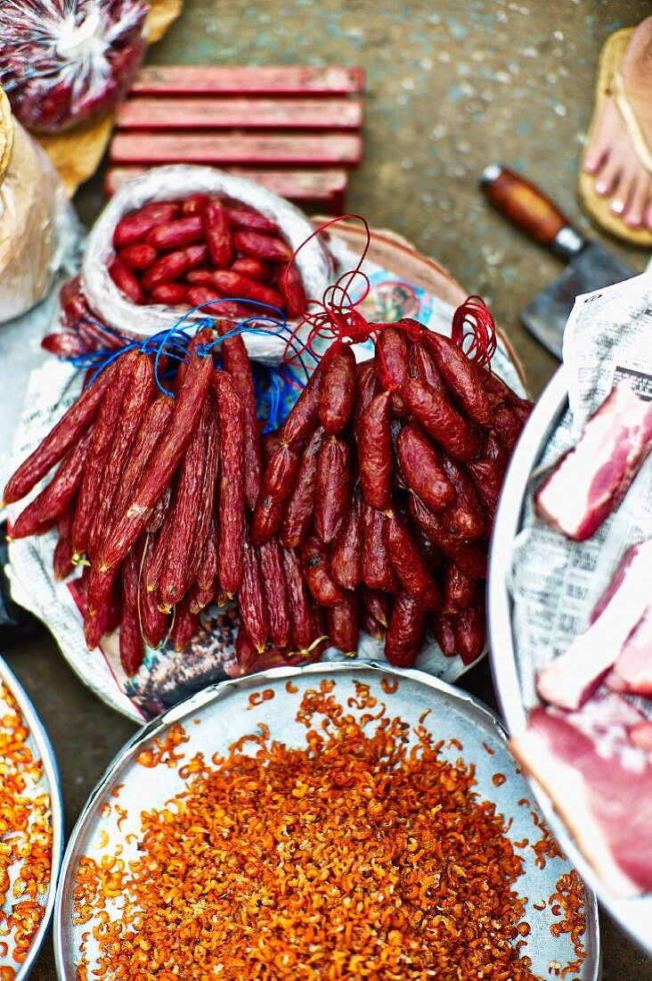Sausages and bacon at a market in Saigon (Vietnam)