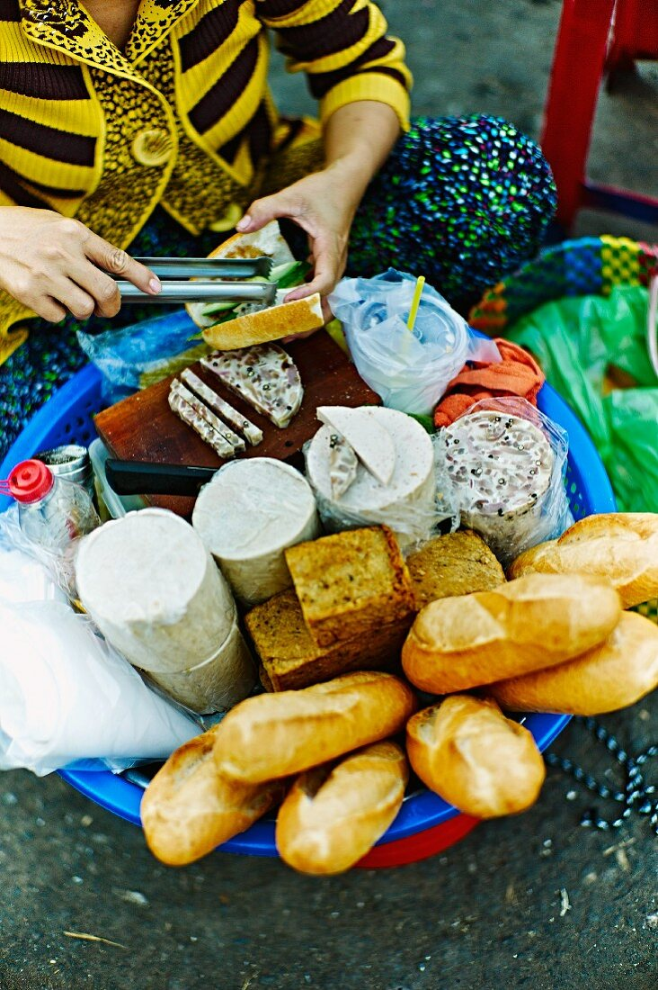 Cheese and bread for sandwiches at a market in Saigon (Vietnam)