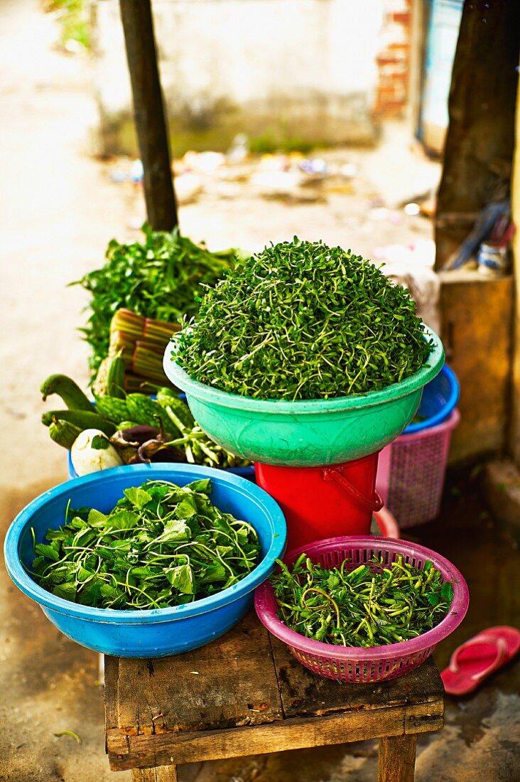 Fresh herbs at a market in Saigon (Vietnam)