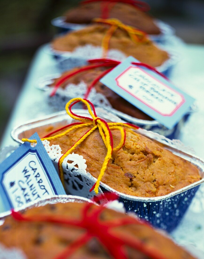 Carrot and walnut cake at a bake sale (USA)