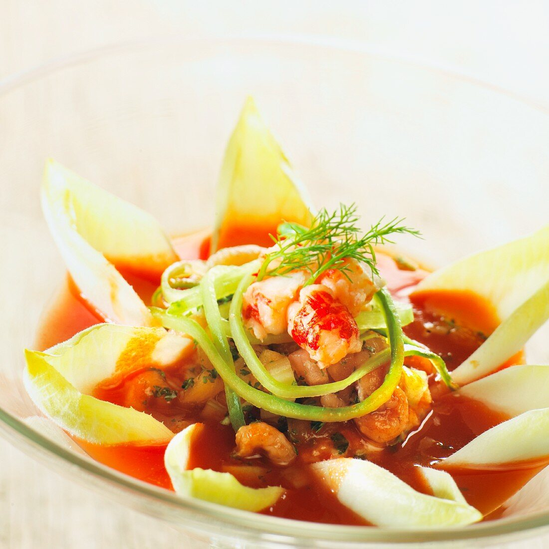Cold seafood soup with chicory
