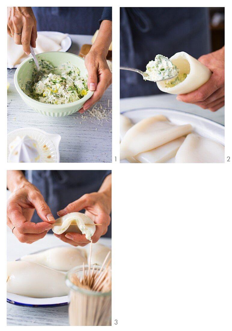 Stuffed calamari being made