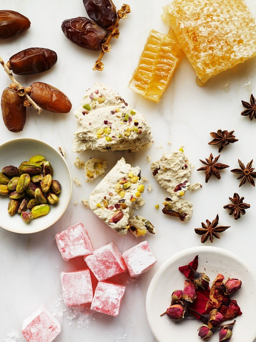 Honey comb, dates, pistachios, Turkish honey, star anise and dried rose buds