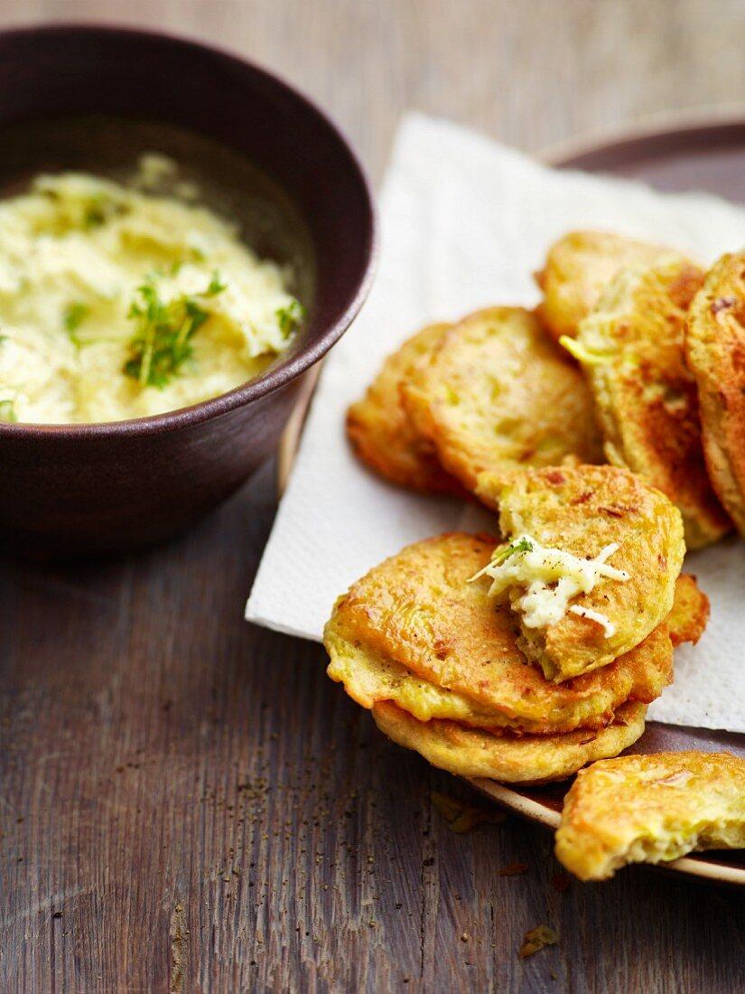 Potato blinis with radish and apple tatar