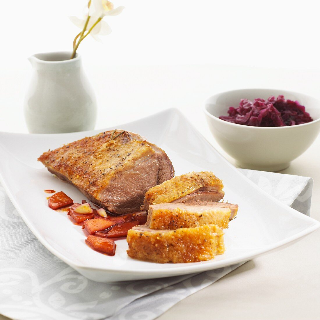 Goose breast with red cabbage
