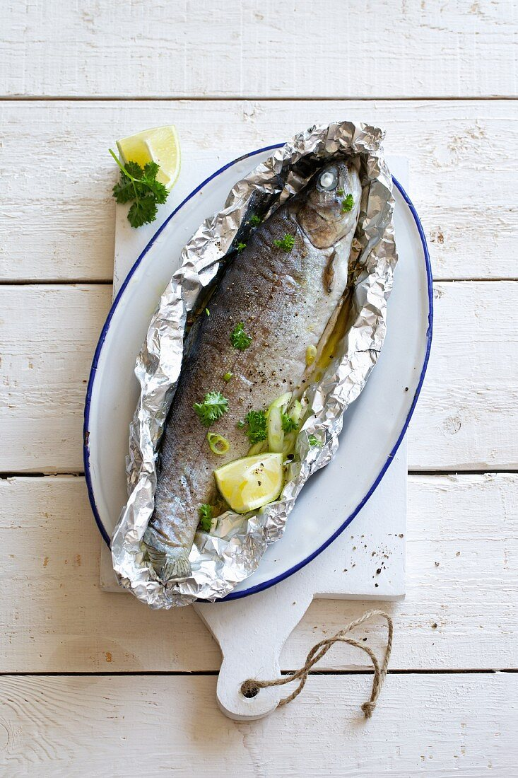 Trout cooked in foil