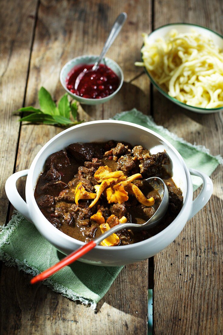 Hare stew with chanterelle mushrooms and Spätzle (soft egg noodles from Swabia)