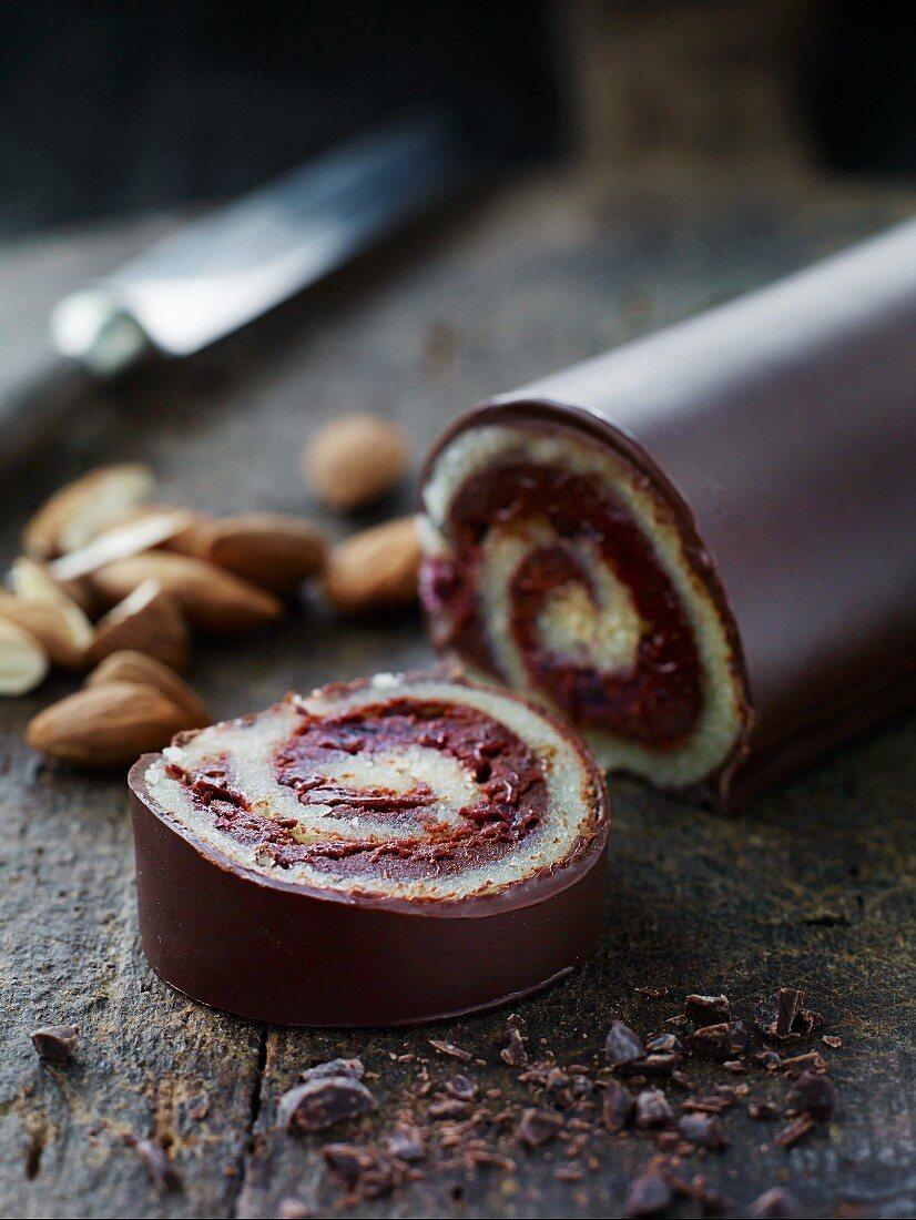 Marzipan chocolate Swiss roll