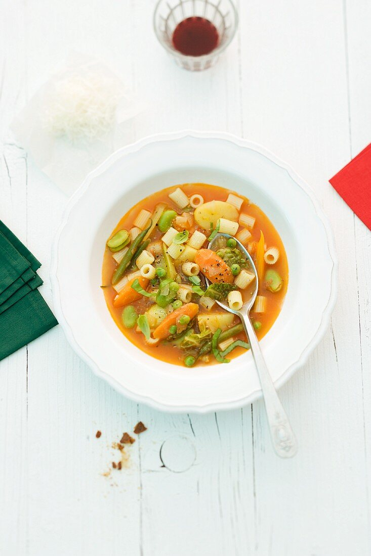 Minestrone in a white bowl