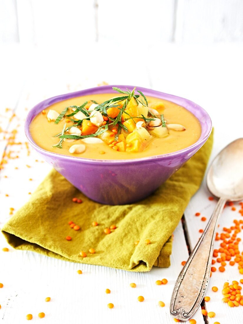 Potato and lentil soup with mint and peanuts